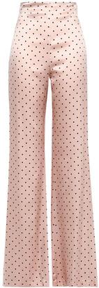 Silvia Tcherassi Giovanetti Polka-dot Silk-satin Wide-leg Pants