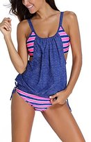 BellyAnna 2pcs Womens Stripes Lined Up Double Up Tankini Top Bikini Swimwear