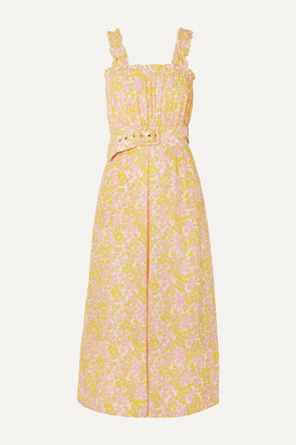 Faithfull The Brand Dolores Belted Floral-print Crepe Jumpsuit - Pastel yellow