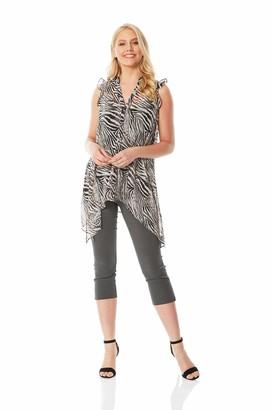 Roman Originals Women Ruffle Animal Print Top - Ladies Casual Button Up Shirt Blouses Lightweight Chiffon V-Neck Asymmetric Hem Style for Everyday Smart Holiday Travel Cruise - Black - Size 10