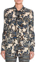 Missoni Floral Stretch Silk Shirt, Blue