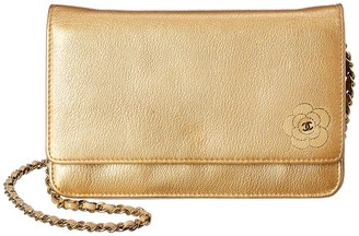 Chanel Beige Lambskin Leather Camellia Wallet On Chain