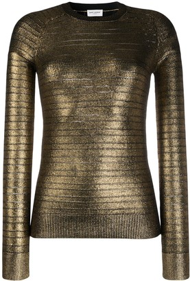 Saint Laurent Metallic-Effect Knitted Jumper