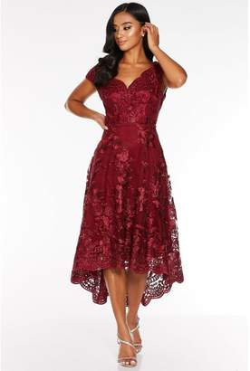 Quiz Petite Wine Lace Embroidered Bardot Dip Hem Dress
