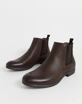 Jack & Jones PU chelsea boot in brown
