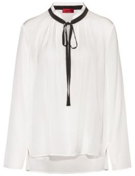HUGO Regular-fit blouse with tie neck in stretch silk
