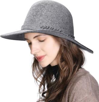 Fashionable Jeff & Aimy Womens 100% Wool Felt Wide Brim Floppy Fedora Hat Winter Church Derby Party Hats Grey