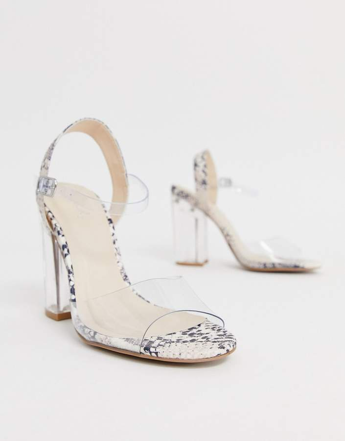 45a1e214fa9 clear strap block heeled sandals in snake