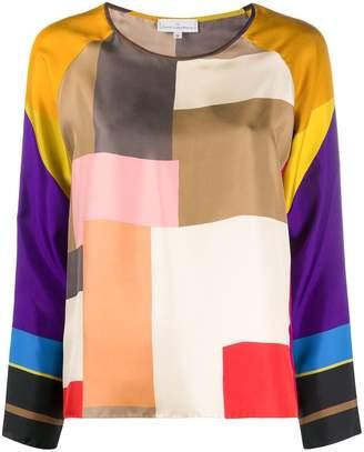 Pierre Louis Mascia Geometric-Print Silk Blouse