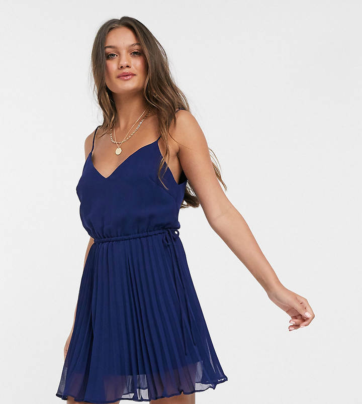 ASOS DESIGN Petite pleated cami mini dress with drawstring waist in navy