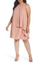 London Times Plus Size Women's Halter Style Tiered Georgette Shift Dress