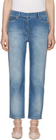 Valentino Blue Straight-leg Rockstud Untitled Jeans