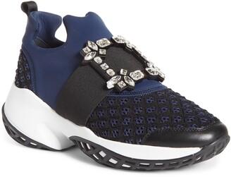 Roger Vivier Viv Crystal Buckle Slip-On Sneaker