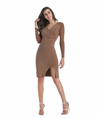 Topfly® Womens Warm Long Sleeve Deep V Neck Cross Wrap Front Slit Side Ribbed Rib Knit Midi Bodycon Sweater Dress Camel US 4-6 / M
