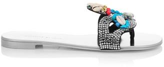 Giuseppe Zanotti Nuvrock Flat Swarovski Crystal-Embellished Suede Sandals