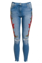 Quiz Light Blue and Red Denim Jeans