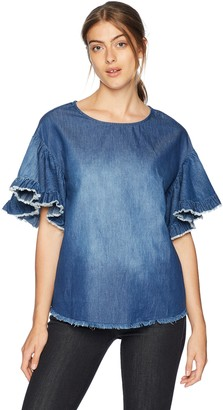ECI New York Women's Elbow Bell Sleeve with Fringe Hem top