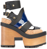 Sacai x Pierre Hardy wooden wedge sandals - women - Leather/Patent Leather/rubber/Cork - 36