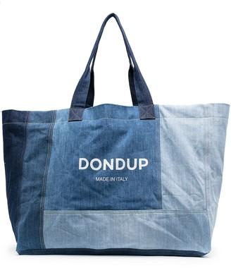 Dondup Logo-Print Patchwork Denim Tote Bag