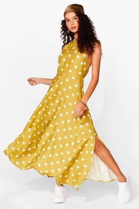 Nasty Gal Womens A Polka Dot on Our Mind Strappy Midi Dress - Mustard