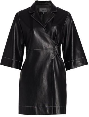 Ganni Leather Wrap Dress