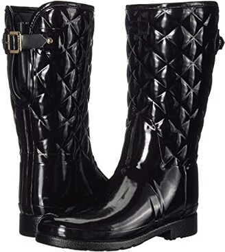 Hunter Refined Gloss Quilt Short Rain Boots (Black) Women's Rain Boots