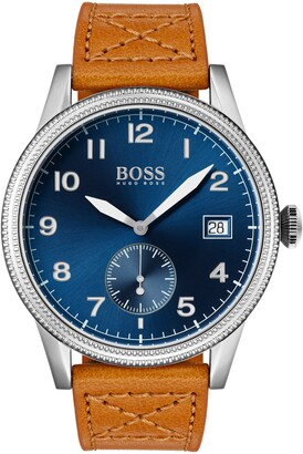 HUGO BOSS Legacy Round Leather Strap Watch, 44mm