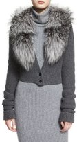 Alice + Olivia Lory Fox-Fur Collar Cropped Cardigan, Charcoal