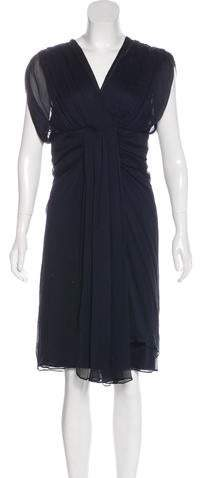 Diane von Furstenberg Tull Silk Pleated Midi Dress