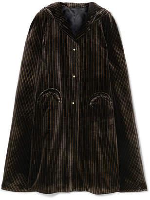 BLAZÉ MILANO Metallic Striped Velvet Cape - Black