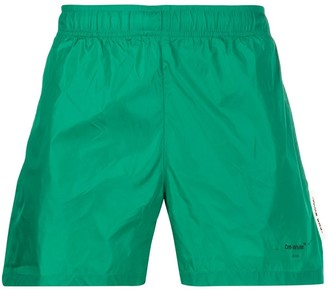Off-White Printed-Logo Swim Shorts