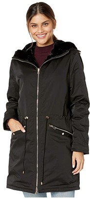 Love Token Tayna Faux Fur Reversible Hooded Jacket (Black) Women's Clothing