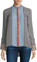Derek Lam 10 Crosby Bell-Sleeve Silk Mixed-Print Blouse, Light Pumice
