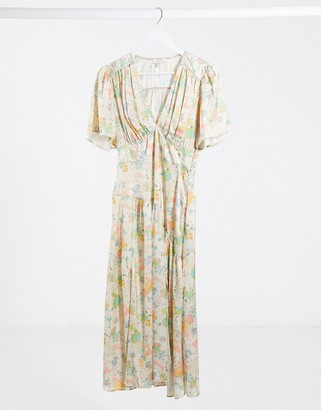 Topshop v-neck midi dress in cream floral