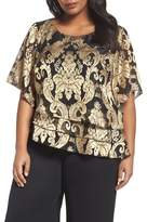 Alex Evenings Asymmetrical Metallic Jacquard Blouse (Plus Size)