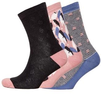 Jaeger Womens Three Pack Abstract Socks Pink Navy