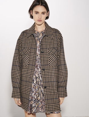 Maje Belted check print coat