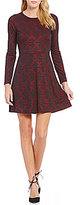 Kensie Patterned Ponte Long Sleeve Dress