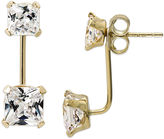 JCPenney FINE JEWELRY Princess-Cut Cubic Zirconia 14K Yellow Gold Front-To-Back Stud Earrings