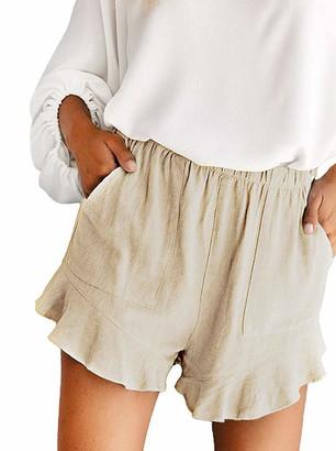 Mosucoirl Women Drawstring Casual Elastic Waist Shorts Pure Color Hot Shorts Comfy Pants Lightweight Summer Beach Short with Pockets (Black Flower L)