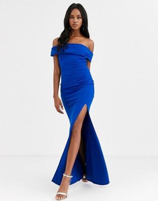 City Goddess off the shoulder maxi with split-Blue