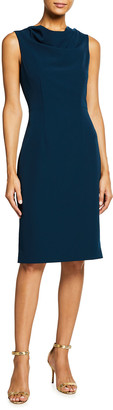 Milly Cowl-Neck Sleeveless Cady Sheath Dress