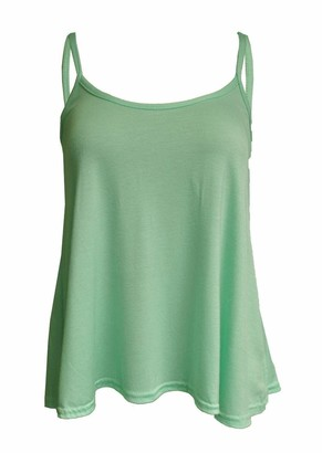 Er Traders Ltd Ladies Women Plus Size New Camisole Cami Plain Printed Strappy Swing Vest Top Flared Sleeveless (Mint XXXL UK 24-26)