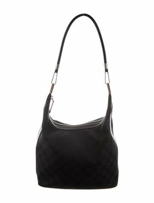 Gucci Leather-Trimmed GG Canvas Hobo Black