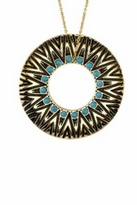 House Of Harlow Circle Pendant Necklace in Turquoise