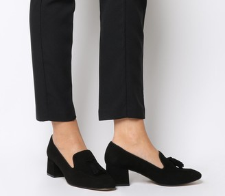 Office Move Tassel Mid Block Heels Black Suede