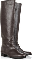Flat leather knee-high boots