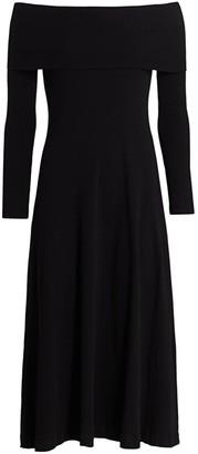 Rosetta Getty Off-The-Shoulder Cotton Midi Dress