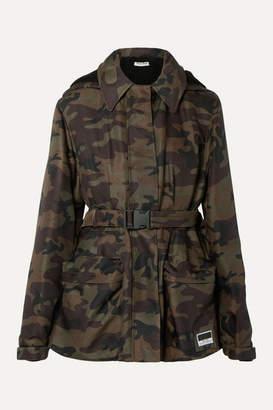 Miu Miu Hooded Padded Camouflage-print Canvas Jacket - Army green