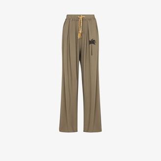 Palm Angels Palm Print Wide Leg Sweatpants